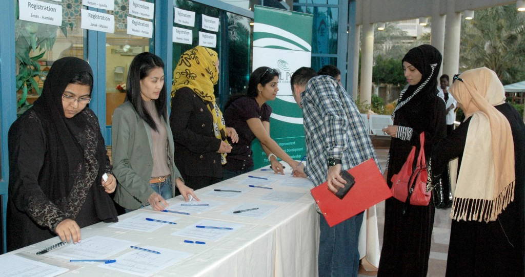 Attendees registering at the recently held Teachers' Idea Forum.