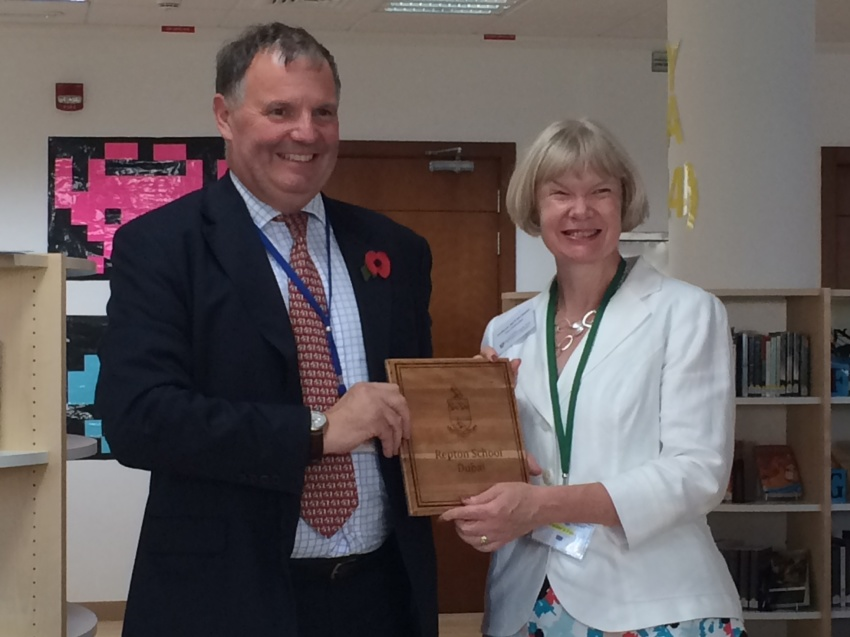 Mr Jonathan Hughes-D'Aeth, Headmaster of Repton School with Professor April McMahon, Vice-Chancellor of the University of Aberystwyth.