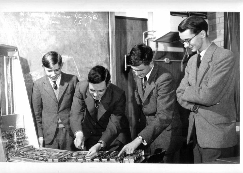 A photo of Professor Hawking (far left) at St Albans School. (Credit Herts Advertiser).