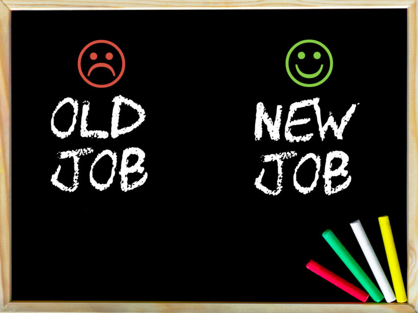 Old job versus New job message with sad and happy emoticon faces